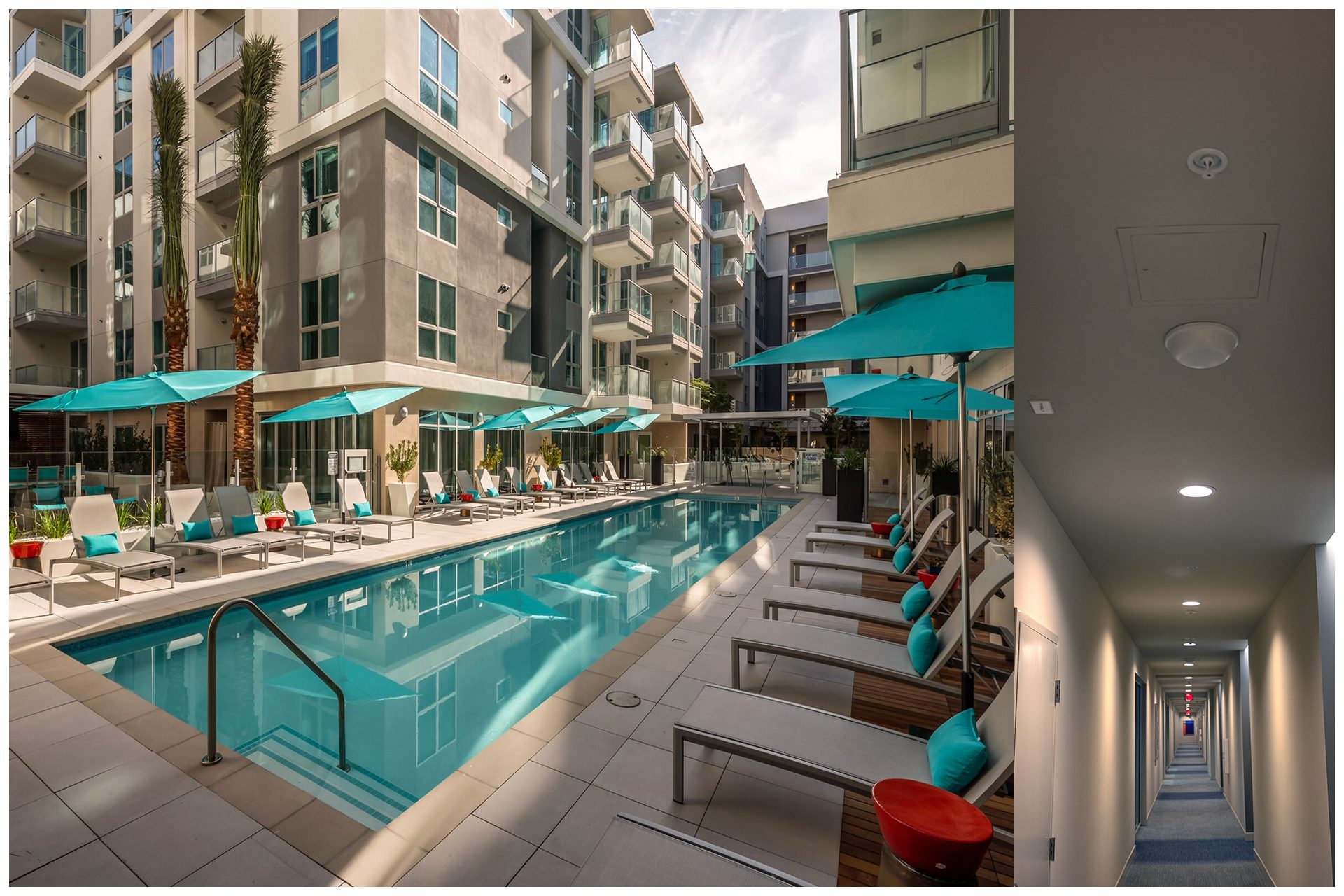 Expansive outdoor Courtyards & Pool Areas also featured cellular signal as well as WiFi.  All 400 Residential units received cellular signal from antennas installed in hallways (see right side photo) so as to provide easy access for service.  Fiber-based signal source from carriers ensures unlimited capacity for the 1000 plus residents, visitors and employees at the venue.