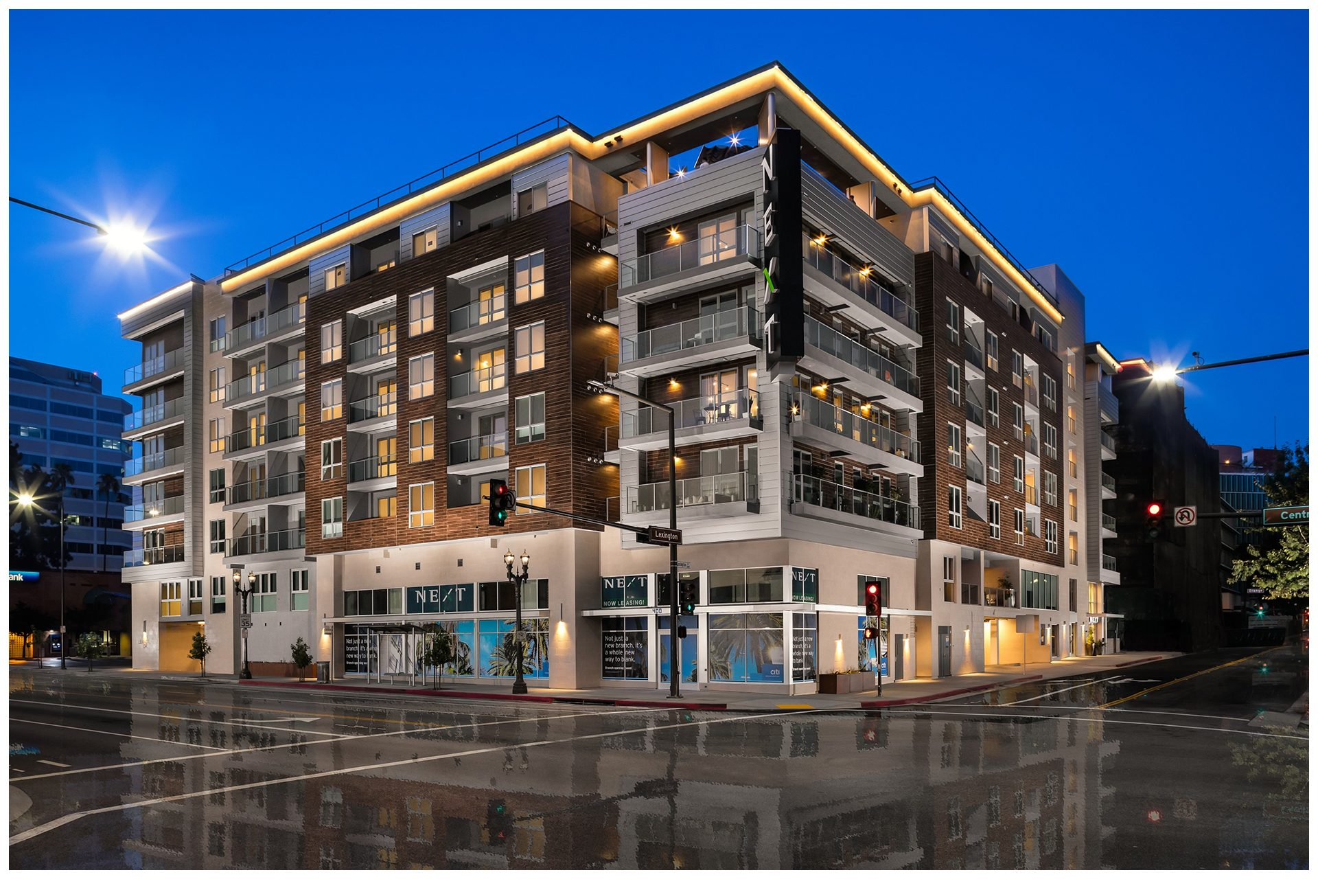 NEXT ON LEX - GLENDALE499 Residential Units & 8140 SF of retail space. Media Systems provided:Common Area WiFiCommon Area AV3x3 Video Wall DisplayApartment Audio System in all Penthouse units
