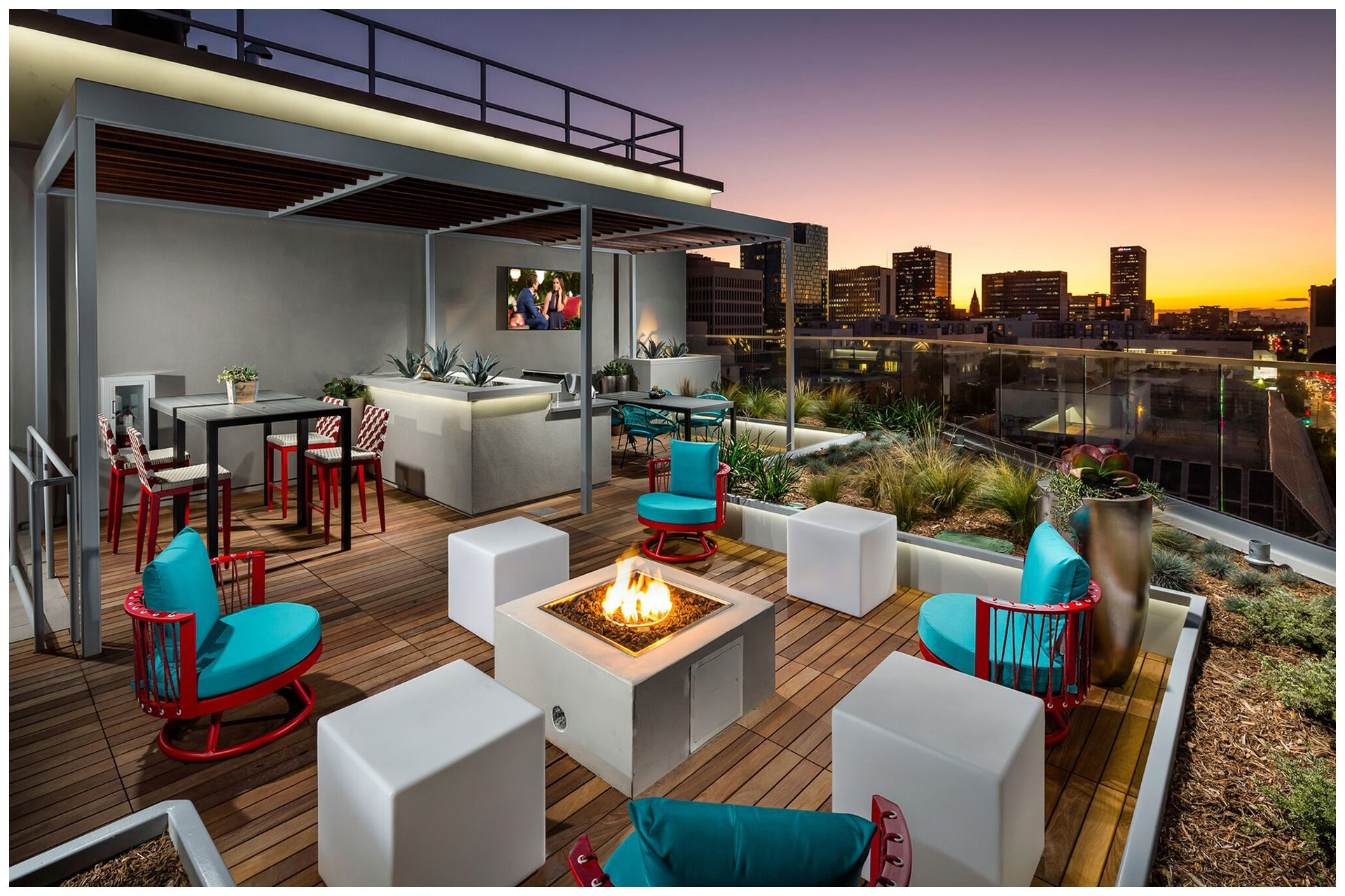 ROOFTOP/SKY DECK PROVISIONS Roof-top Audio & TV & WiFi; Audio Video provisions controlled via a nearby wall-mounted iPad and remotely from leasing office.