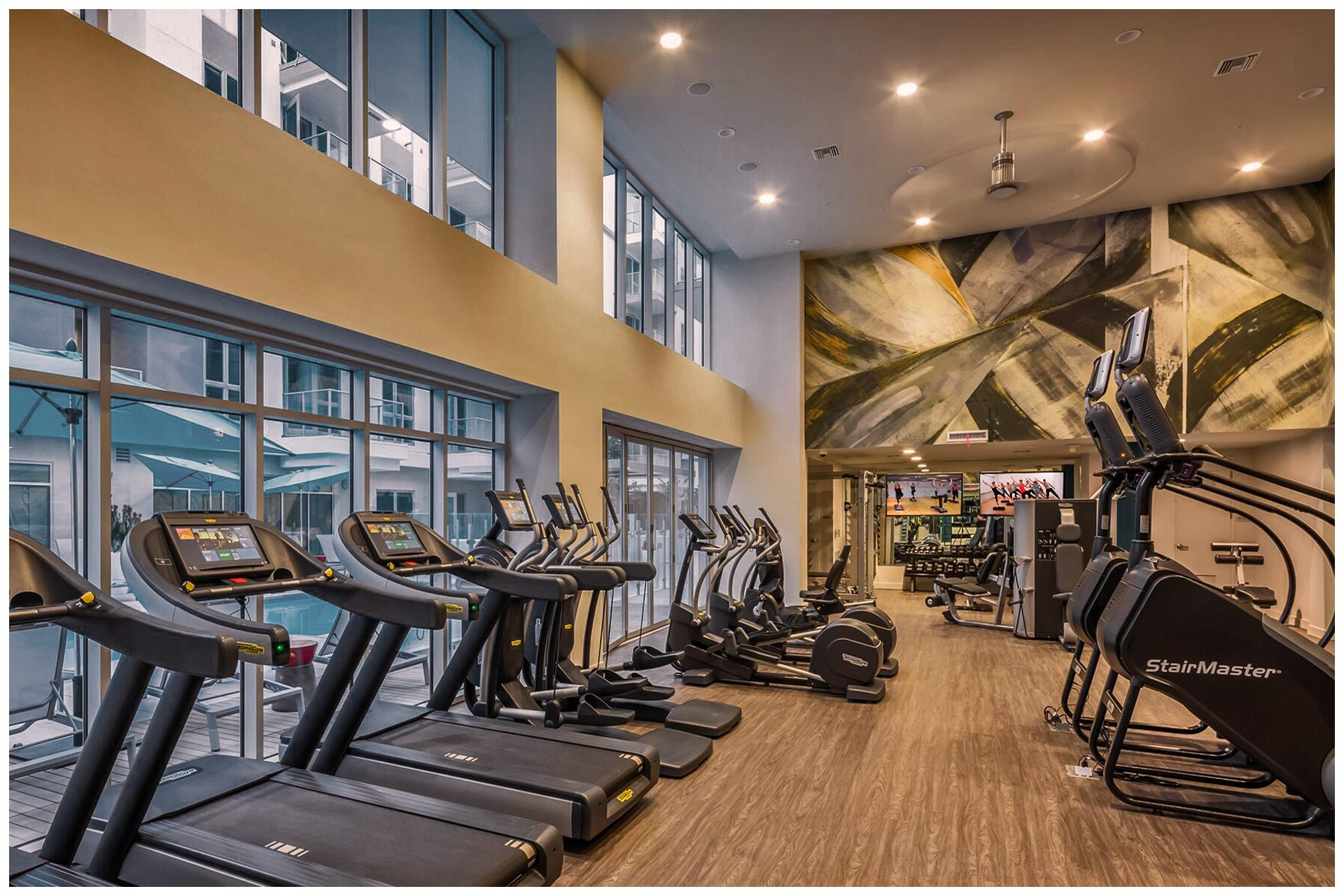 GYM AV PROVISIONSGym Audio Video & Enterprise Grade WiFi. Audio Video provisions are controlled via an in-room wall-mounted iPad and remotely from leasing office iPad.