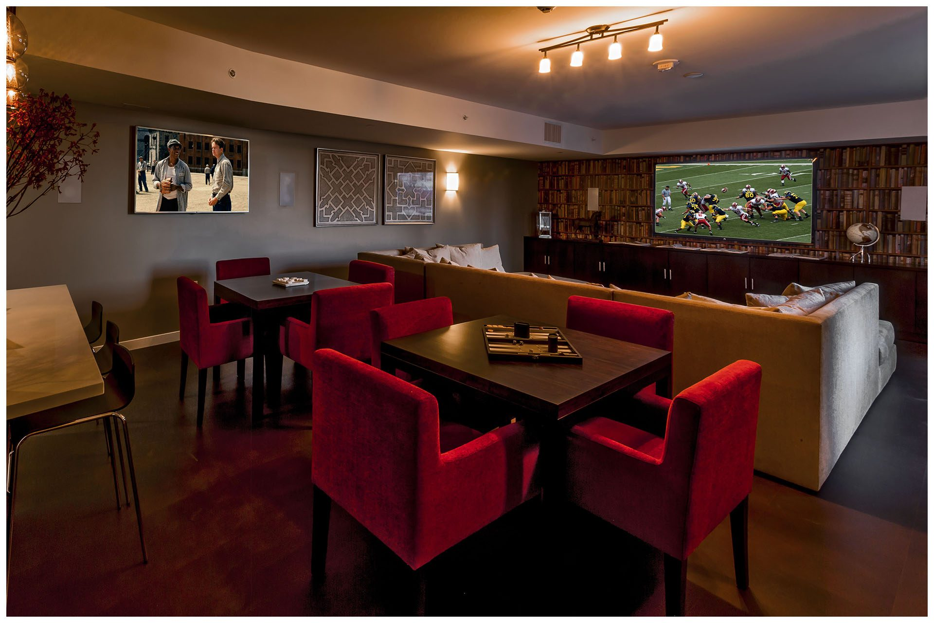LOUNGE PROVISIONSBusiness Lounge or Game Lounge Audio Video Provisions & Enterprise Grade WiFi. Audio Video provisions are controlled via an in-room wall-mounted iPad and remotely from leasing office iPad. In-room iPad allows a limited range of volume change for music.