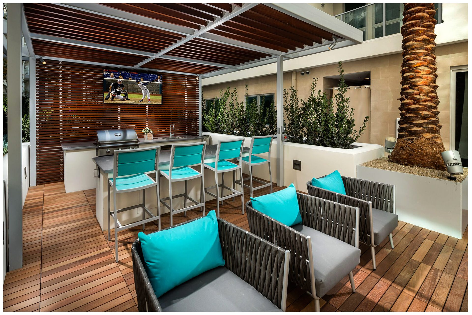 COURTYARD, POOL AREA, & SKY BRIDGE PROVISIONSCourtyard, Pool Area, & Sky Deck Audio Video & Enterprise Grade WiFi. Audio Video provisions are controlled via a nearby wall-mounted iPad and remotely from leasing office iPad. Local iPad allows a limited range of volume change for music.