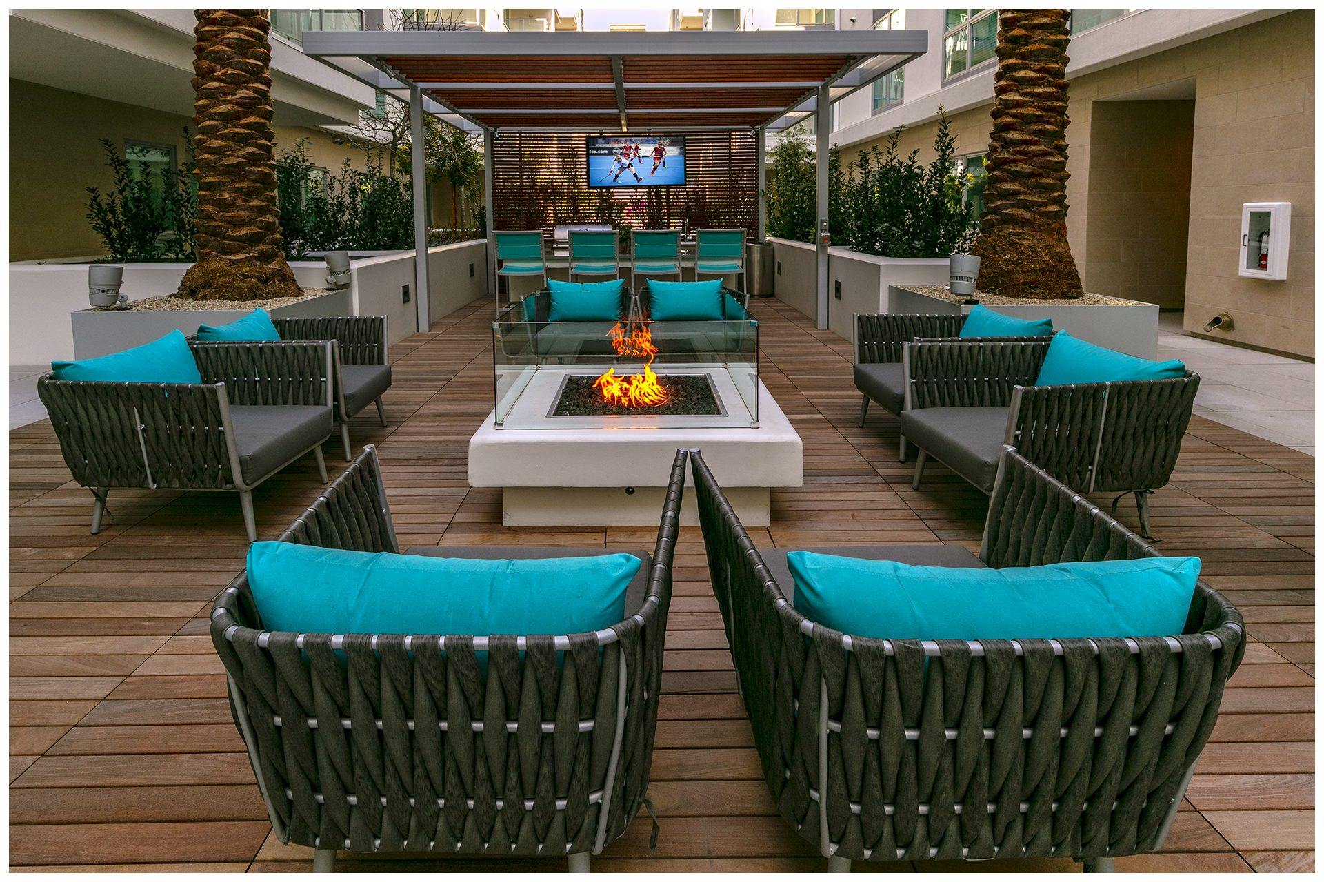 COURTYARD, POOL AREA, & SKY BRIDGE PROVISIONSCourtyard, Pool Area, & Sky Deck Audio Video & WiFi. Audio Video provisions are controlled via a nearby wall-mounted iPad and remotely from leasing office iPad. Local iPad allows a limited range of volume change for music.