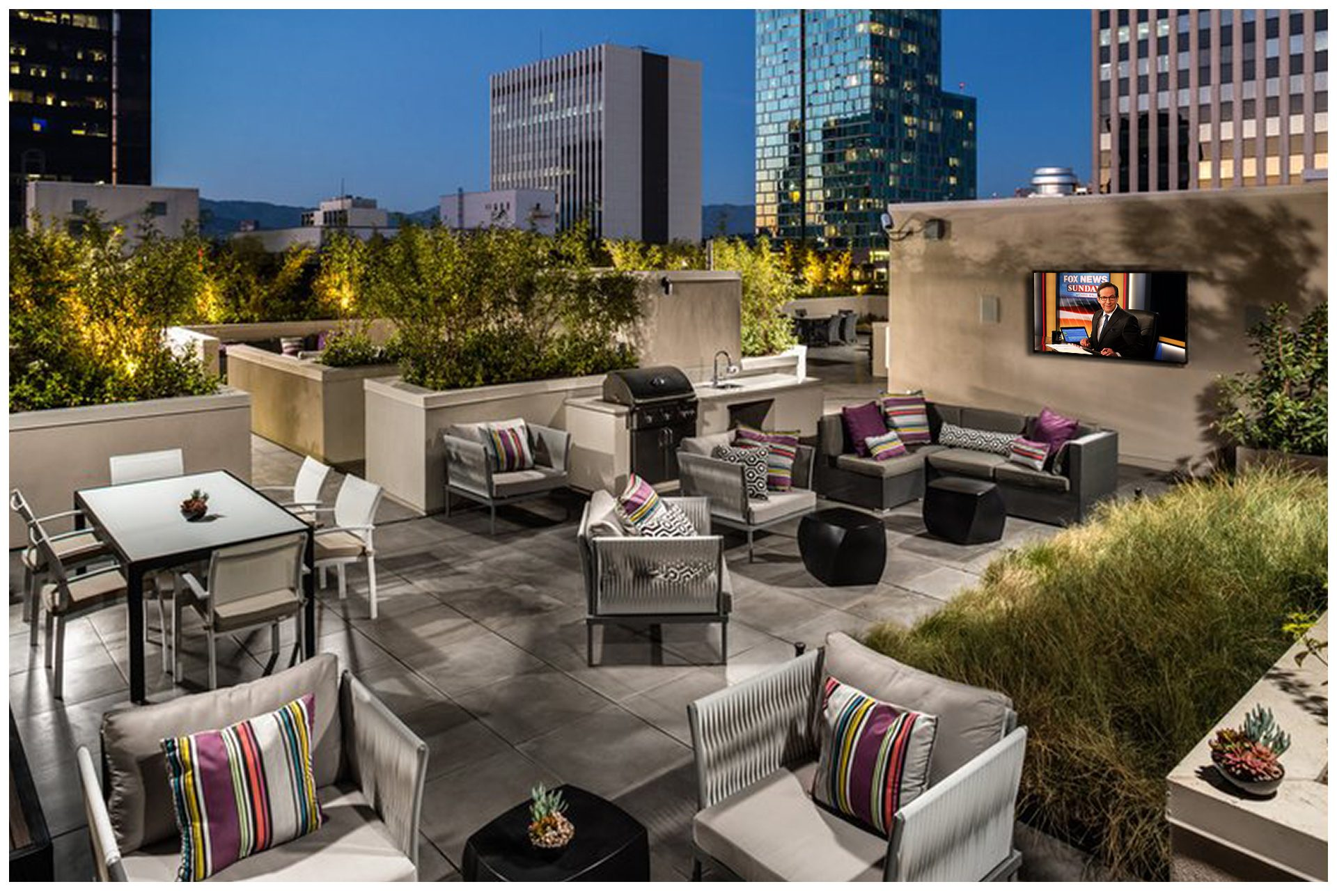 ROOFTOP/SKY DECK PROVISIONS Roof-top Music and TV & WiFi; Music & TV provisions controlled  from leasing office.