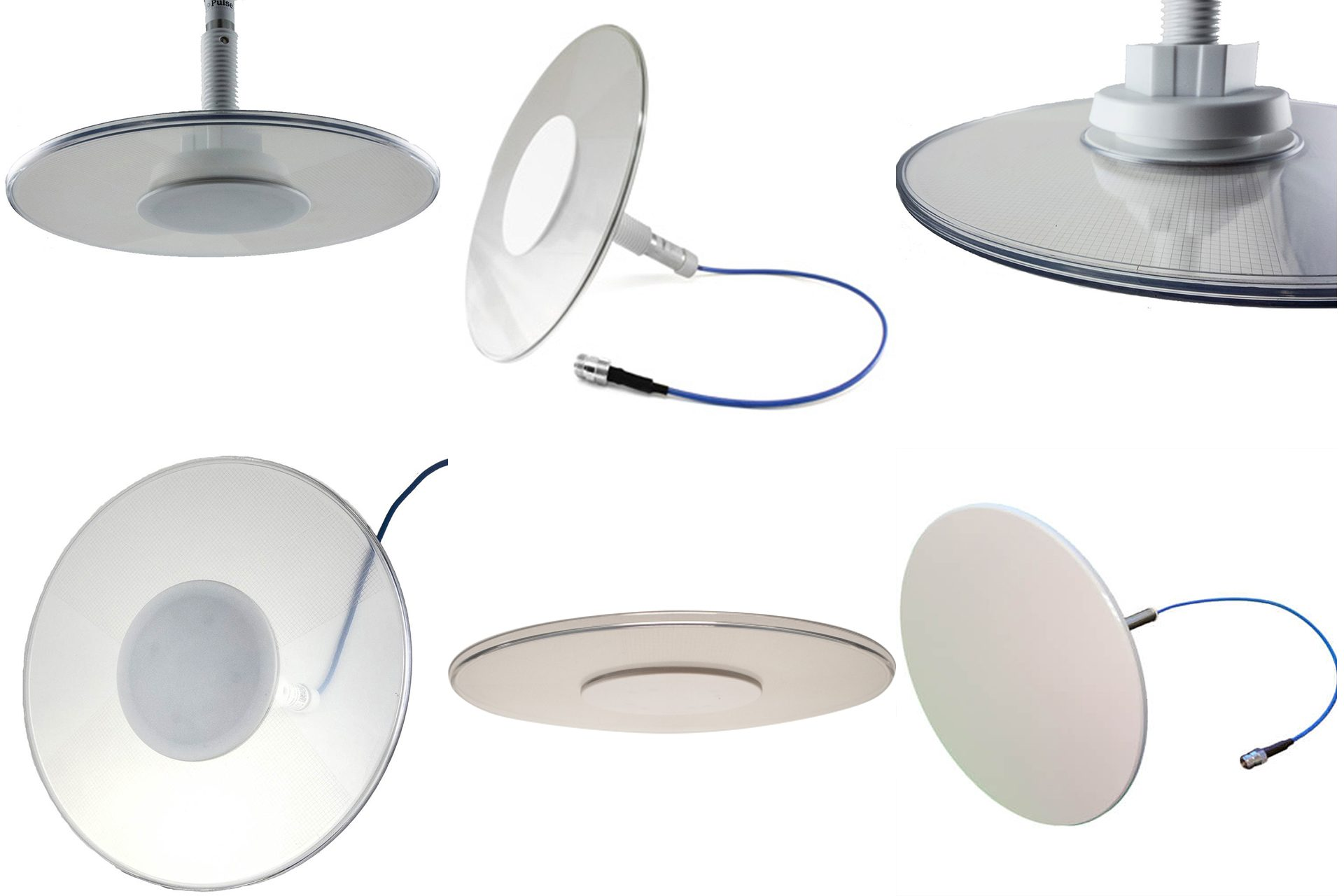 Various types of other antenna are available for some of the systems we deploy.  Above are examples of thinner or mostly transparent, circular antennas that may be deployed.