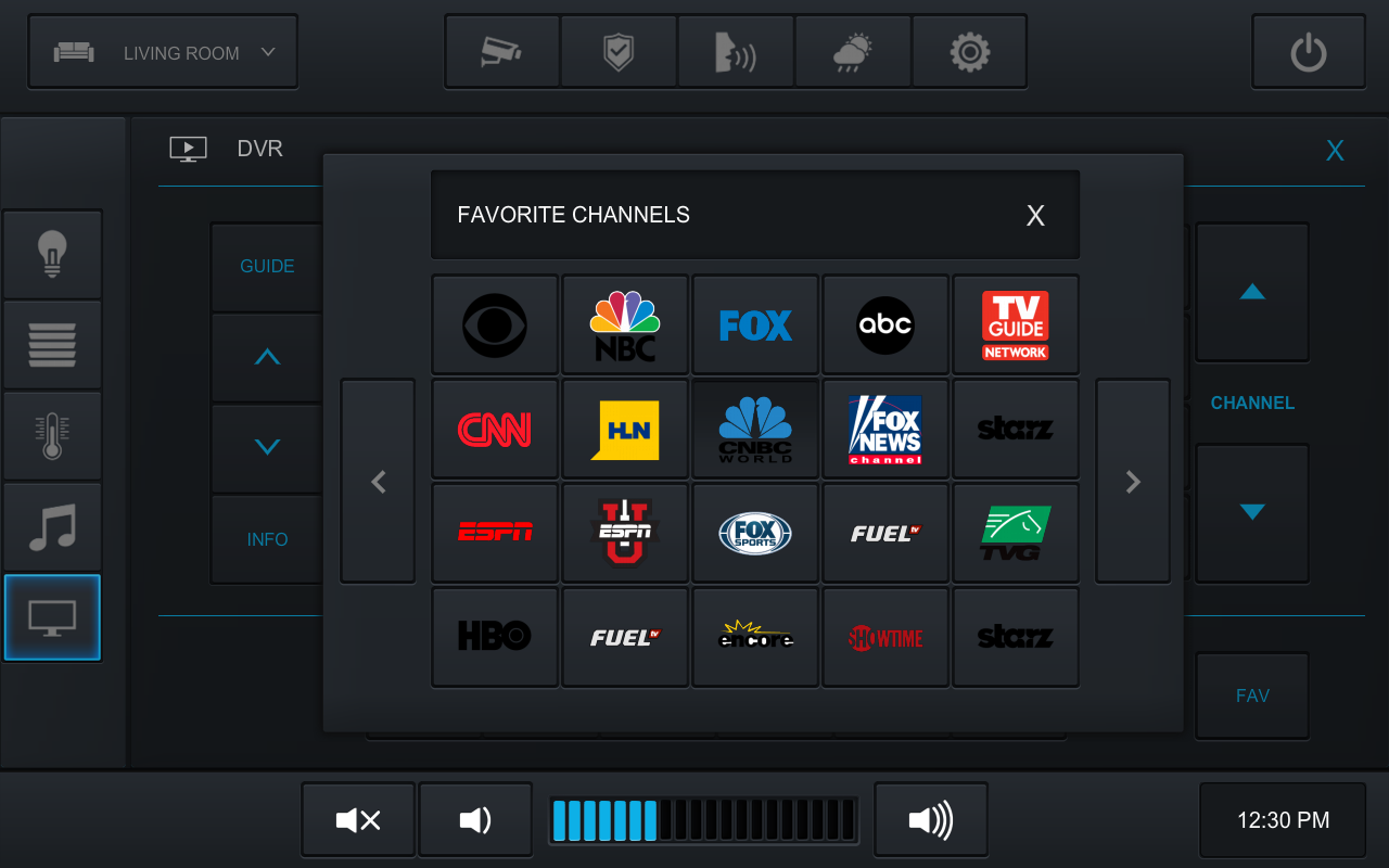 CRESTRON INTEGRATIONDVR control can also feature custom pages where a client's favorite channels can be stored and accessed.