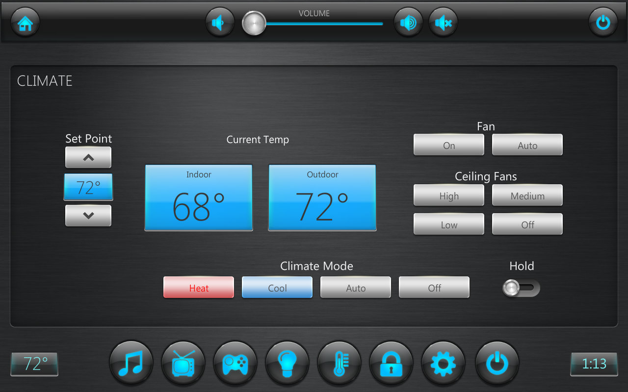 CRESTRON INTEGRATIONHVAC control for heating and cooling is made simple with above layout on any Crestron panel or iPad.  Most HVAC control system also provide for their own app to be installed on any iPad to work independently of a Crestron control system.