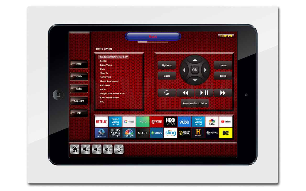 RTI INTEGRATIONA wall-mounted iPad can be included in an RTI control system and feature the same artwork used on RTI touch panels.  Above is an example of a wall-mount iPad offering control of a Roku media player with custom button's for client's favorite channels.