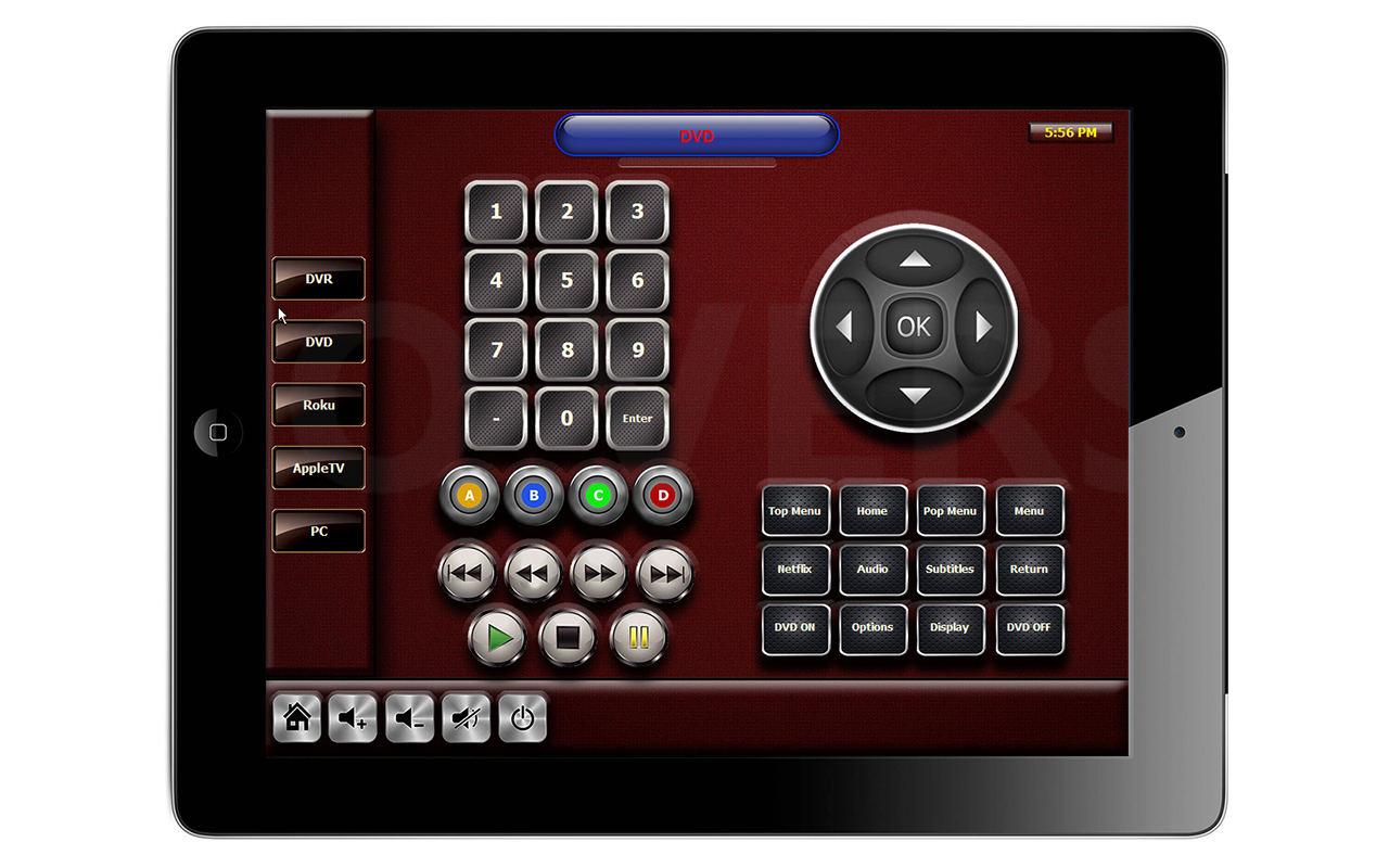 RTI INTEGRATIONRTI Integration may also feature the same artwork on RTI touch panels and serve as table-top or wall mount interfaces.  Above is an example of an iPad interface for control of a DVD player.