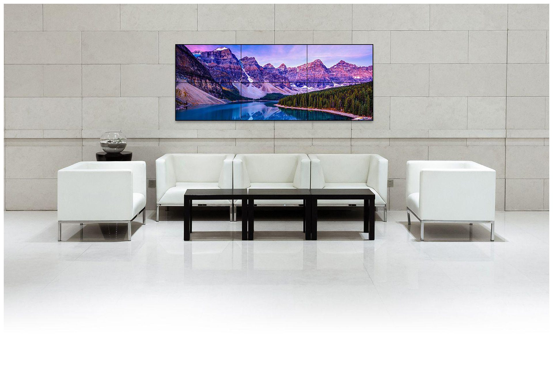 VIDEO WALL DIGITAL SIGNAGE FOR LOBBY PICTURE DISPLAYS  Above Custom size 3x2 Video Wall Display Signage delivers wide format photo slides for a media server.  Photos can be changed by simply adding new content to a photo folder.